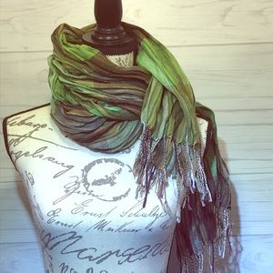 Scarf Green/Brown/Purple